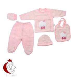 ست 5 تکه لباس نوزادی دخترانه طرح خرگوش Gaye bebe سایز 0 تا 3 ماه
