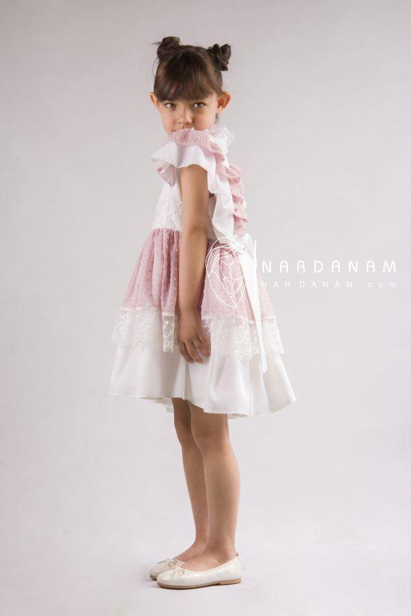 پیراهن مجلسی دخترانه توری ناردانام مدل السا سایز 1 تا 8 سال