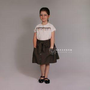 ست بلوز دامن کوتاه دخترانه ناردانام مدل دنیز سایز 1 تا 6 سال