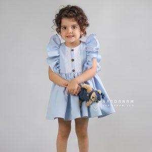 لباس مجلسی آستین چین دار ناردانام مدل ماهور سایز 1 تا 6 سال