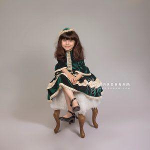لباس مجلسی مخمل دخترانه ناردانام مدل راشل سایز 1 تا 8 سال
