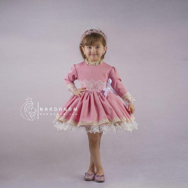لباس مجلسی ژپون دار مدل سون آی | 1 تا 8 سال | ناردانام