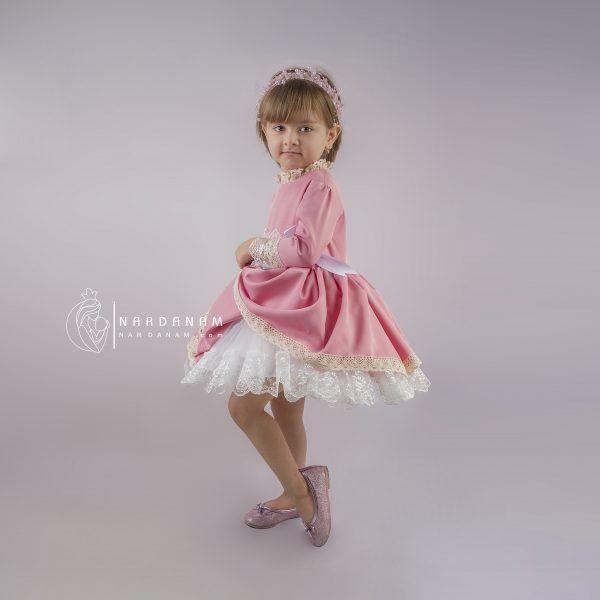 لباس مجلسی ژپون دار دخترانه ناردانام مدل سون آی سایز 1 تا 8 سال