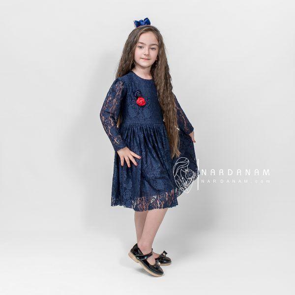 لباس دانتل دخترانه ناردانام مدل کلاسیک سایز 1 تا 6 سال